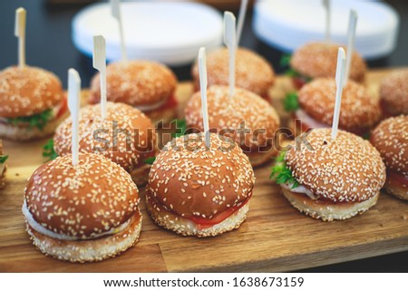 Beautifully decorated catering banquet table with variety of vegetables and different burger burgers snacks on corporate christmas birthday party event or wedding celebration  #1638673159