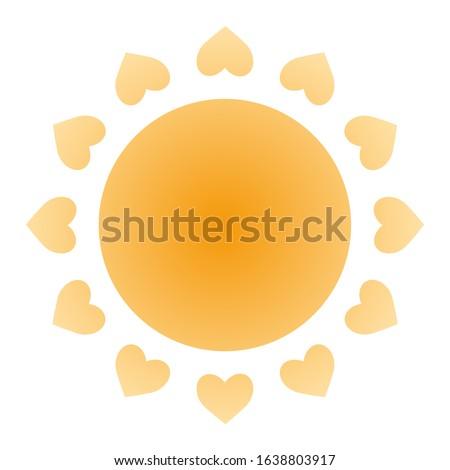 The sun is yellow-orange. Sun Rays - Hearts