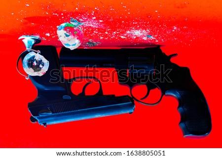 broken globe. gun and globe. #1638805051