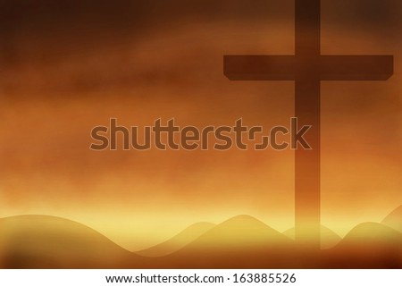 Cross and shadow with the sunset  background #163885526