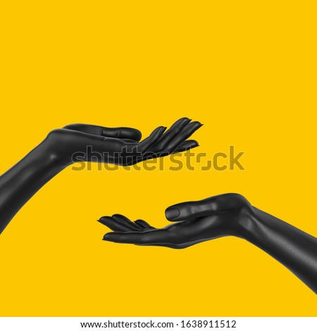 Black beautiful woman's hand sculpture isolated on yellow background. Palm up showing and presenting female art creative concept banner, mannequin arm 3d rendering