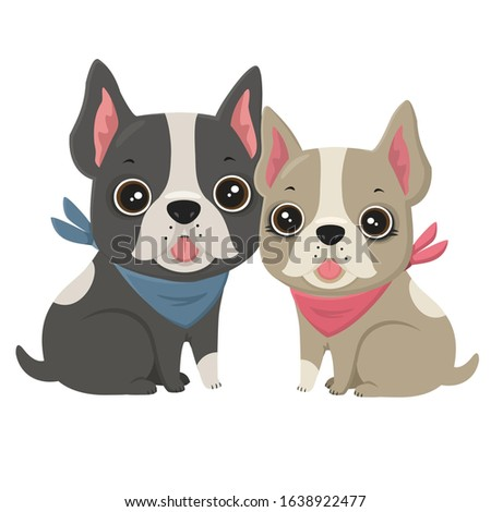 vector love  Icon dog breed French Bulldog. Image French  Puppy is cream and black colored. Illustration bulldog  dog in flat style