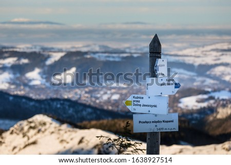 Information signs on trails in the Polish Tatras. Tatra Mountains and Zakopane #1638927514