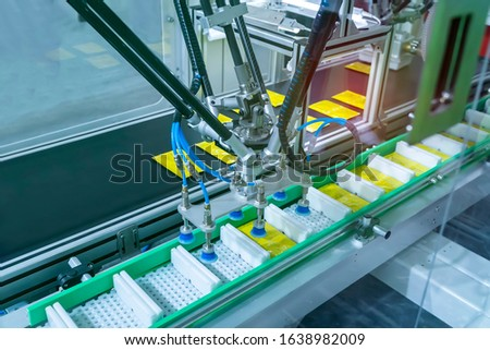 Conveyor product line for packing unit of high technology and automatic food packing machine for industrial Royalty-Free Stock Photo #1638982009