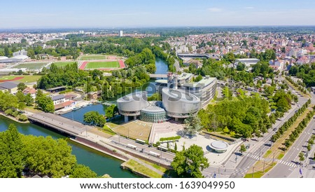 Strasbourg, France. The complex of buildings is the European Parliament, the European Court of Human Rights, the Palace of Europe, Aerial View   #1639049950