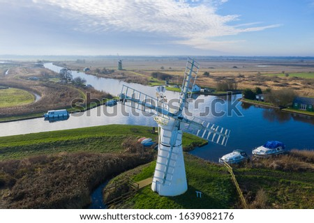 Aerial view of Thurne Windmill in Norfolk UK Royalty-Free Stock Photo #1639082176