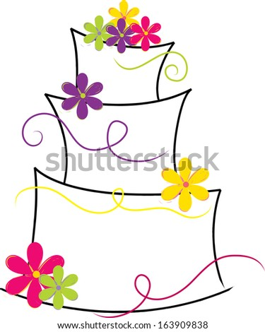 Clip art image of a white and pink cake shape decorated with flowers.
