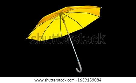 Umbrella Model With Yellow Transparent Canopy #1639159084