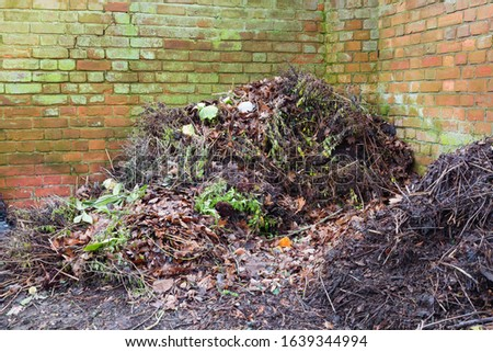 Compost heap or pile in a garden for composting, UK #1639344994