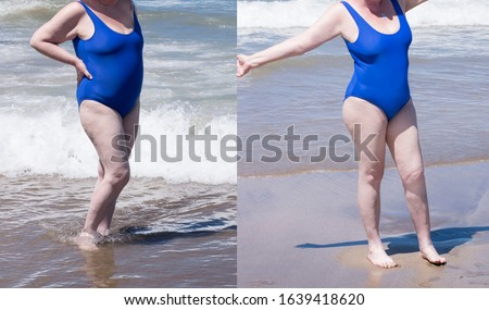 Adult, old age or  middle aged  slender woman resting on the beach and enjoying life, photo before and after the retouch  or weight loss treatment #1639418620