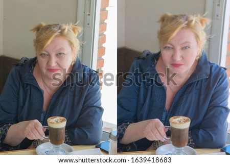 Adult, old age or middle aged beautiful  blond  woman relaxing on vacation and enjoying life with a cup of coffee in a cafe or restaurant, photo before and after the retouch  or age treatment #1639418683