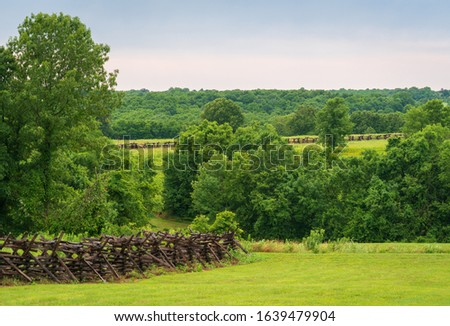 The Landscape of Wilson's Creek National Battlefield, in the Ozarks, Missouri Royalty-Free Stock Photo #1639479904
