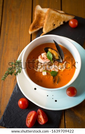 tomato soup puree with seafood is a great Breakfast #1639709422