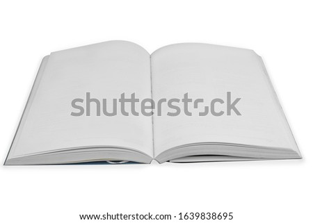 Open book with blank pages on a white #1639838695