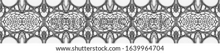 Horizontally seamless design. Ornamental Geometry. Ceramic tile. Natural Colors. Dressing element Old fashion Design. Hand Painted Kaleidoscope Effect. Floral Pattern. Floral Elements #1639964704
