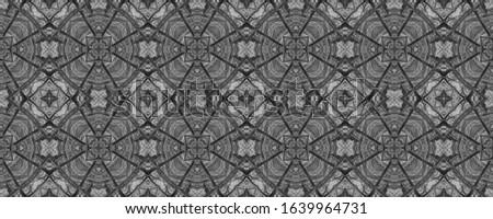 Black Vintage Seamless Background. Ornamental Geometry. Ornate Tile Background Black Tile Decoration print. Dark Texture. Bright Kaleidoscope Art. Floral Design. Floral Design. #1639964731