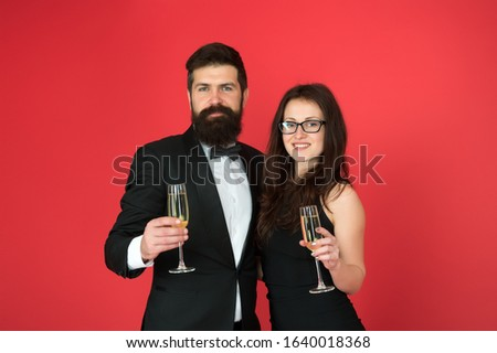 Keep calm and celebrate on. Happy couple enjoy celebrating red background. Celebrating Valentines day. Business partners drink champagne. Celebrating contract. Celebrating success. Celebration. #1640018368