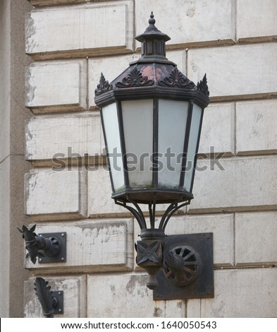 old fashioned street light on the wall Royalty-Free Stock Photo #1640050543