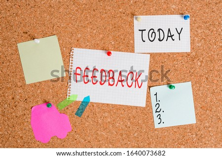Word writing text Feedback. Business concept for information about reactions to product demonstratings perforanalysisce of task Corkboard color size paper pin thumbtack tack sheet billboard notice #1640073682
