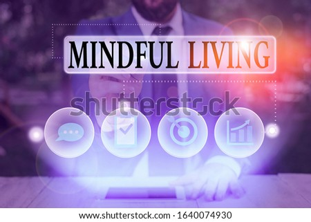 Text sign showing Mindful Living. Conceptual photo Having a sense of purpose and setting goals in life. #1640074930