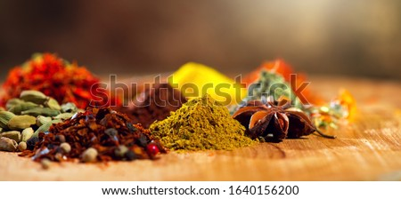 Spices. Various Indian Spices colorful background. Spice and herbs backdrop. Assortment of Seasonings, condiments. Cooking ingredients, flavor #1640156200