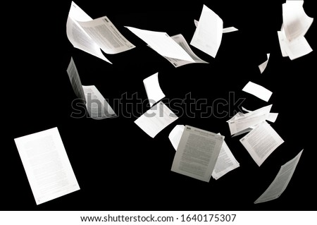 Many flying business documents isolated on black background Papers flying in air in business concept #1640175307