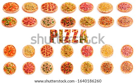 "Set of pizza isolated on white background and the textured word ""PIZZA"". Pizza photo for for menu card, web design, site, shop, advertising or delivery fast food."
