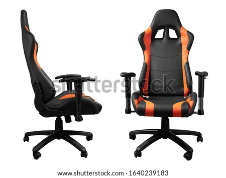 Front and side view of modern black and orange desk chair isolated on white #1640239183