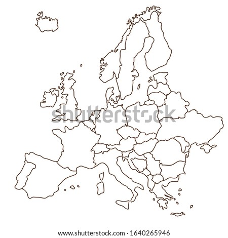 Illustration material of white Europe map. outline.