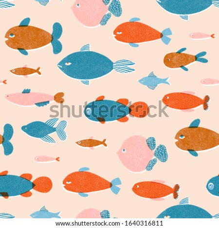 Fish pattern in retro risograph printing style. Cartoon aquatic fishes illustration.