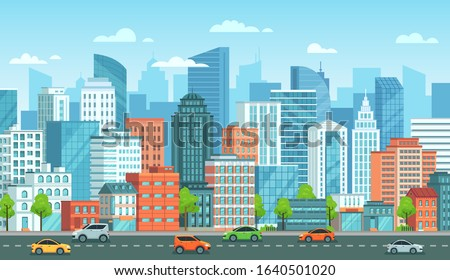 Cityscape with cars. City street with road, town buildings and urban car cartoon vector illustration. Panoramic view with automobiles riding against modern downtown skyscrapers on background. Royalty-Free Stock Photo #1640501020