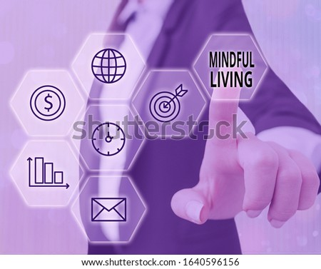 Text sign showing Mindful Living. Conceptual photo Having a sense of purpose and setting goals in life. #1640596156