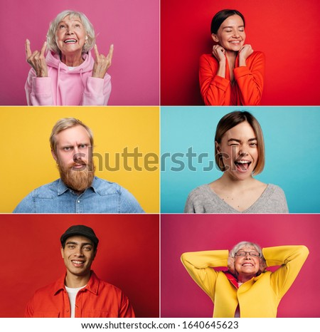 Set of six pictures of people isolated on colorful background. Collage of old young people different age and different races. Multicultural and diversity. People angry upset and cheerful at same time