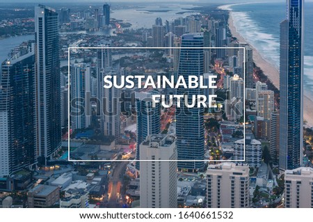 Sustainable future banner, poster design with modern cityscape. Aerial urban skyline with beach brochure cover design with text saying Sustainable Future