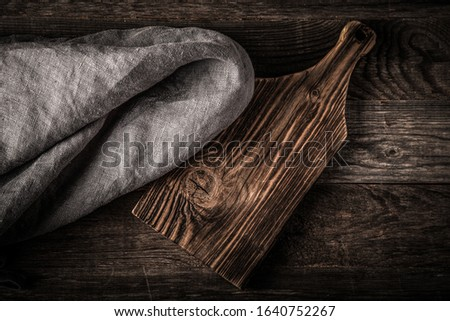 Rustic composition with a rough linen napkin. Toned. #1640752267