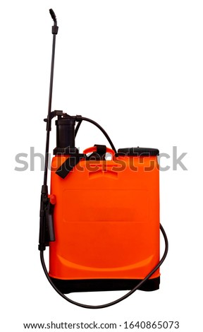 Insecticide sprayers on isolated White background. for working in the garden and vegetable garden. Agricultural sprayer with Clipping Path  #1640865073