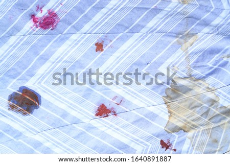 Different dirty stain on fabric from using in daily life. dirt stains for cleaning concept  #1640891887
