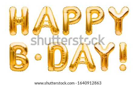 Words HAPPY B-DAY made of golden inflatable balloons isolated on white background. Gold foil helium balloons forming phrase. Birthday congratulations concept, HBD phrase, happy birthday wishes
