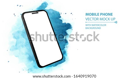 Mobile Phone Vector Mockup With Perspective View. Black Smartphone Isolated on Blue Watercolor Background.