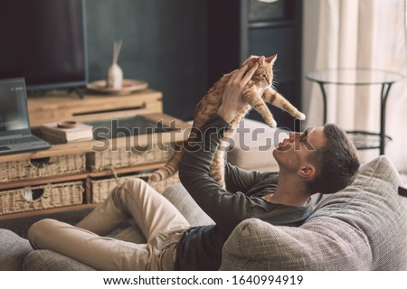 Owner playing with cat while relaxing on modern couch in living room interior. Young man resting with pet in soft chair at home. #1640994919