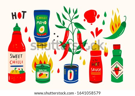 Red hot Chilli sauces. Red and green Hot Chili peppers. Various spicy dressings. Different bottles. Hand drawn colored vector illustration. All elements are isolated.  #1641058579