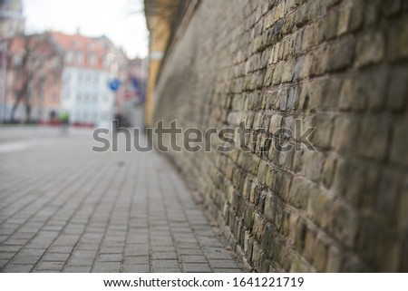 old grunge interior with brick wall. Selective focus. Royalty-Free Stock Photo #1641221719