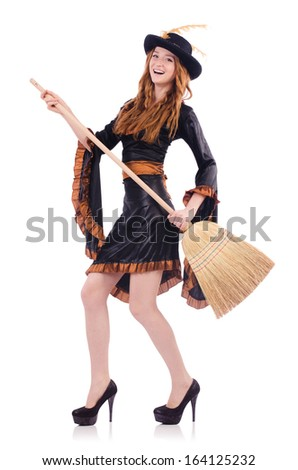 Nice witch with broom on white #164125232
