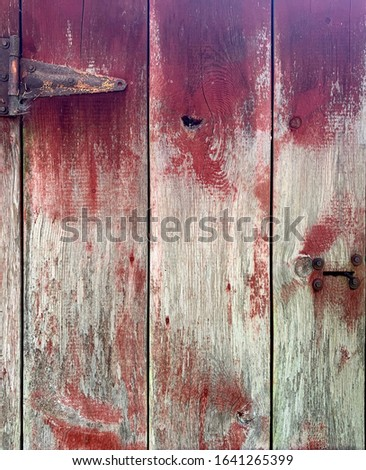 Vintage weathered wood barn door with hardware from a 1920's era barn in Boring Oregon #1641265399