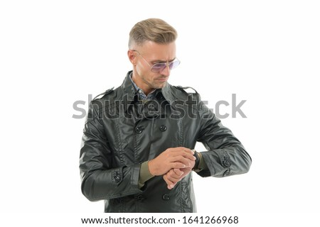 It is time. Status and reputation. Man mature well groomed handsome model with wrist watch. Expensive luxury accessory. Watch repair. Gift shop. Confident macho with luxurious watch white background. #1641266968