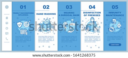 Influenza virus prevention onboarding vector template. Immunity maintenance. Yearly vaccination for flu. Responsive mobile website with icons. Webpage walkthrough step screens. RGB color concept #1641268375