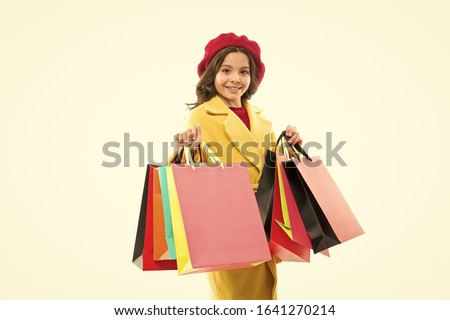 Great choices great purchases. Happy small child hold purchases in paperbags. Little girl smile with fashion purchases. Impulse purchases. Shopping addiction. Season sale. Best autumn discounts. #1641270214