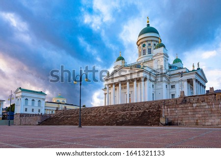 Helsinki. Finland St. Nicholas. Cathedrals on the background of blue sky. The square in front of the Helsinki Temple. The architecture of Finland. Orthodox church in Finland. Helsinki Tour. #1641321133