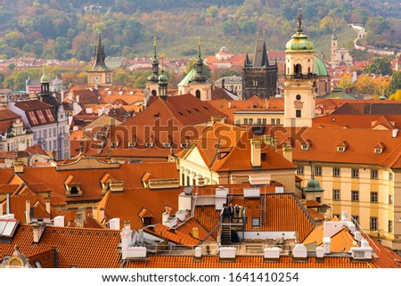 Red Rooftops of Buildings of the Old Town in Prague, Czechia #1641410254