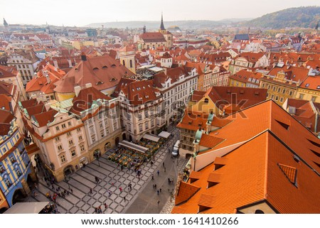 Red Rooftops of Buildings of the Old Town in Prague, Czechia #1641410266